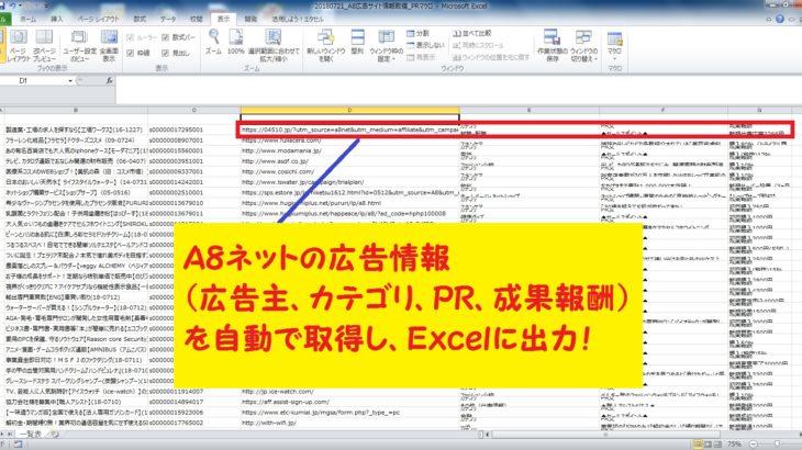 【coconala(ココナラ)】 A8ネットの広告情報を自動で取得するExcelマクロツールを格安で販売中!